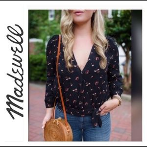 Madewell wrap top in Flower Toss